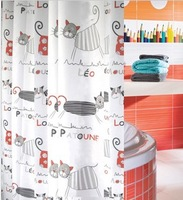 2014 new hot sale Terylene cloth 100%  waterproof polyester shower curtain cartoon tape gutters bathroom curtain cat 180*200 cm
