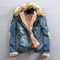 Water wash 2013 plus velvet wool collar denim jacket male denim outerwear male denim coat male lovers design
