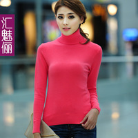 free shipping Brief turtleneck sweater basic shirt all-match sweater female hml0618