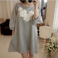 New fashion autumn Korean version printed pregnant women puff dress,maternity tops