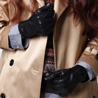 Genuine leather gloves women's winter wool sheepskin gloves winter thermal thin full finger gloves