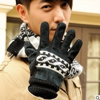 Black genuine leather gloves autumn and winter thickening knitted thermal windproof male skiing toe