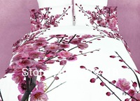 Hot Beautiful 100% Cotton 4pc Doona Duvet QUILT Cover Set bedding set Full / Queen/ King size 4pcs flower Plum Blossom Blooming
