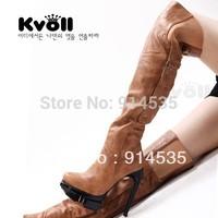 Kvoll handsome motorcycle PU over-the-knee 25pt 2013 ultra high heels platform shoes women's