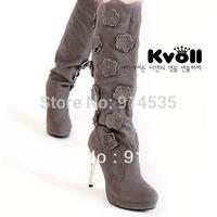 Kvoll rhinestone gentlewomen flower shoes long boots ultra high heels platform leather fleece boots high-leg