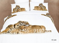 Hot New Beautiful 100% Cotton 4pc Doona Duvet QUILT Cover Set bedding sets Full Queen King size 4pcs animal white lover tiger