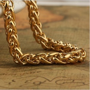 Man stainless steel 18 k thick chunky gold plated necklace for men's and woman's necklaces chains fashion jewelry free shipping