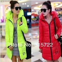 new winter fashion lady pretty plus size long slim down coat,women shinny warm outwear jacket parkas L-056