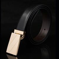 New arrival popular business formal strap fashion brief smooth buckle cowhide belt men's belt