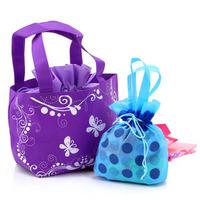 Fashion candy color beam port portable folding shopping bag handbag sundries storage bag 50g