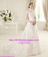 vestido de noiva 2014    fashionable stand collar long sleeve lace chapel train   autumn winter   customize  wedding dress