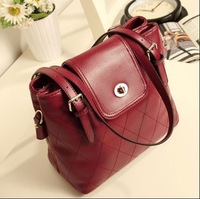 2013 vintage bag dimond plaid Wine red bucket bag shoulder bags women messenger handbags leather handbag