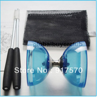 One New Chinese YO YO 3 Bearing Diabolo Set Metal Sticks Transparent Blue Purple Green String bag