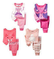 Wholesale pink kids Lounge wear suit bear kids Pajamas girls sleep set (2-7t) 24sets/lot 4designs Free Shipping Fast Delivery