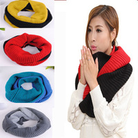 2013 Fashion Yarn Scarf  Woman & Men Winter Color Block Pullover Knitted Muffler Scarf