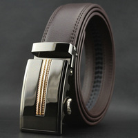 New men's fashion auto lock belt genuine cowskin brown leather waist belt#pk46-T1