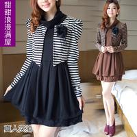 2013 spring and autumn women's sweet gentlewomen k5532 elegant stripe faux two piece long-sleeve dress