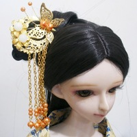 Free shipping 1/3  Bjd doll costume jewelry tassel hair stick necklace gold butterfly tassel comb
