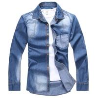 [ Free Shipping ] 2013 hot style Charm JEANS SHIRTS long sleeve men's shirt ,Denim Wear white men's jacket Cowboy wear  JS07