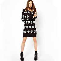 Retail CPAM Free Shipping 2013 Fashion Long Sleeve Skulls Women Sweater 0245