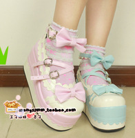 Customize ice cream tianlan pink two-color platform lolita shoes