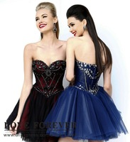 Free shippingBall Gown Tulle Cute Girls Pageant Dresses Royal Blue Red and Black Homecoming Dress