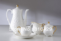 free DHL shipping european design porcelain coffee set 11pcs / set / lot (beautiful pattern) pure white