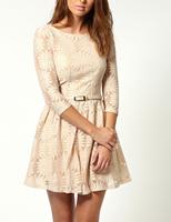 2013 New Autumn Three Quarter Sleeve Dress With Belt Lace Slim Dress red blue beige S M L FREE SHIPPING LR121