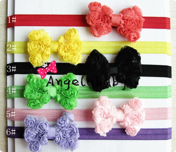 Baby Girls Flower Headbands Bow Headbands Chiffon Rose Flower Headbands Angelababy Headwear 30pcs/lot