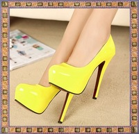 New arrived 2014 Free shipping Women Hot Neon color sexy  High heel White/yellow platform party shoes red bottom shoes B993