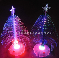 Freel shipping Optical fiber flowers colorful Christmas tree flash color light-emitting toys Christmas ornaments