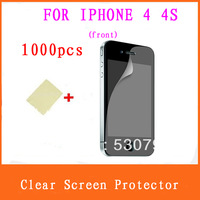 FREE DHL 1000PCS Anti-dus LCD Protective Film Cover Full Body Ultra HD clear Screen Protector for iPhone 4/ 4s(front)