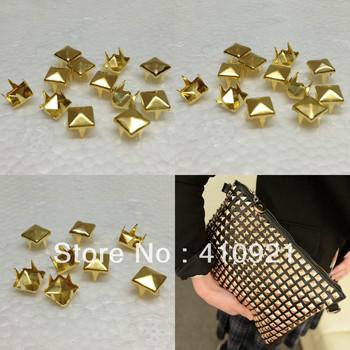 100pcs/Lot  7mm New Gold Pyramid Studs Rivet Spike Nickel Punk Bag Belt Shoes Leathercraft DIY Findings Wholesale Lot