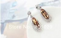 2013 fashion crystal elliptical stud earrings free shipping
