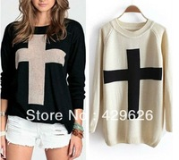 Free shipping New Fashion Womens Cross Pattern Knit Sweater Outerwear Crew Pullover Tops 0178