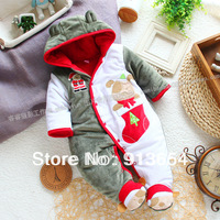 Free shipping Retail new 2013 autumn winter romper baby clothing baby boy romper baby christmas thick overall kids cotton romper