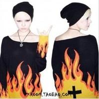 Fashion normic unif HARAJUKU flame cross bf sweater wildfox sweater