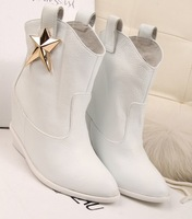 Brand Fashion Sexy Height Increasing Wedges Boots For Women Design Winter Shoes Woman Genuine Leather Ankle Boots White Black