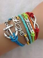 3pcs Valentine's Gift--Infinity, Faith, Love & Anchor Bracelet-Antique Silver Charm Bracelet--Best Gift 1706 Min order 10$