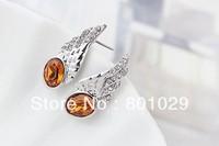 2013 fashion crystal stud earrings free shipping