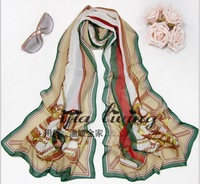 New Winter Scarves Wholesale High-Grade Chiffon Long Silk Scarf Shawl Collar Female Factory Direct Sale