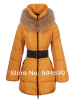 Fur Collar Lady Down Jacket Blue Yellow Red Khaki Black Down Parkas High Quality Women Winter Warm Long Down Coat Free Shopping