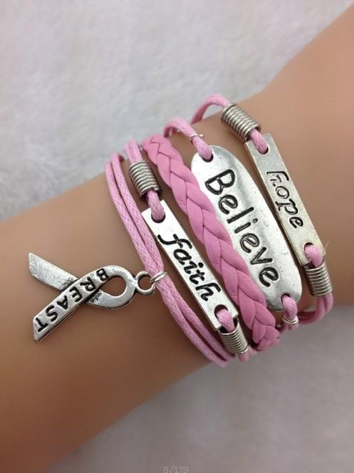 Bracelet En Cuir Rose en Ligne Promotion Bracelet En