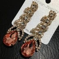 Free Shipping Fashion 18K Gold Plated Extravagant Full Rhinestone Sexy Leaves Shape Tassel Dangle Earrings High Quality