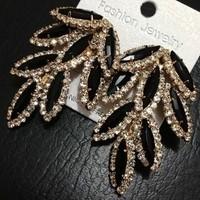 Free Shipping Fashion Gorgeous 18K Gold Plated Black Leaves Shape Tassel Full Rhinestone Dangle Earrings
