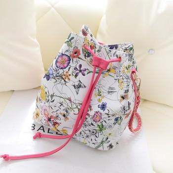 2013 women's handbag vintage print litchi messenger bag chain PU drawstring bucket bag