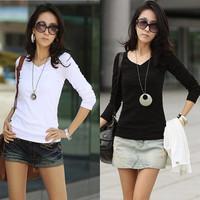 Free Shipping 2014 New Autumn Wild Long-Sleeved V-Neck T-Shirt Slim Primer Shirt Female