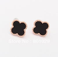 2013 New Coming Elegant Hot Selling Vivid Four Leaf Clover Shape Fashion Alloy earrings Jewelry shipping for free