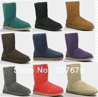 Free Shipping Brand 5825 Classic Short Snow Boots 100% Twinface Sheepskin, 5825 Womens/5251 Kids Desinger Winter Boots