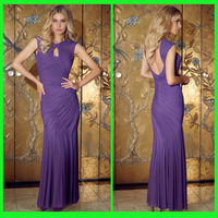 DDS52 Fabulous cap sleeve bodice backless ruffle purple evening dress